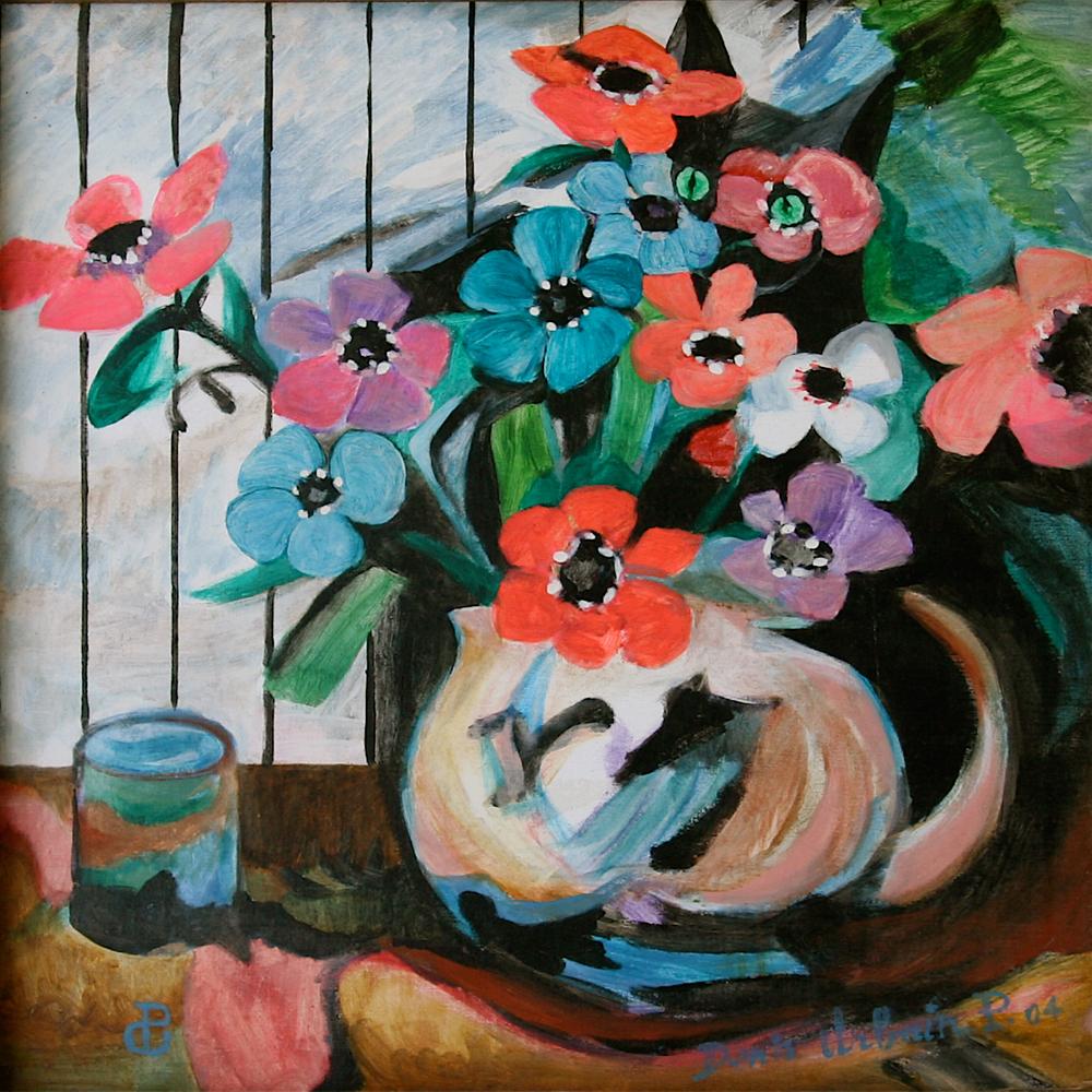 Fleurs au Chat painting